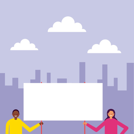 city outdoor woman and man holding banner vector illustration