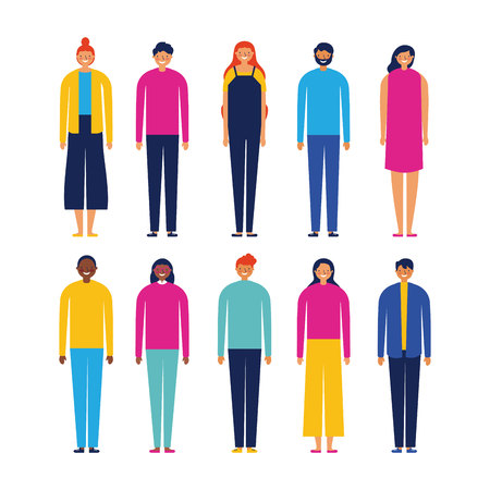 people colors outdoor stand smiling vector illustration