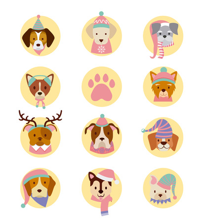 dog stickers decoration merry christmas vector illustration