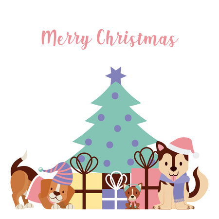 dogs with hat tree gifts merry christmas card vector illustration