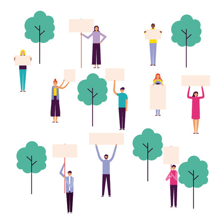 park fresh outdoor people holding banners vector illustration Illustration