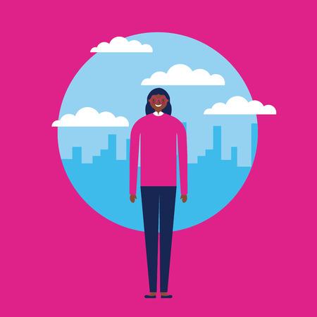 sticker clouds city outdoor afroamerican happy girl vector illustration