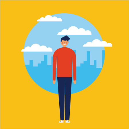 city outdoor sticker boy standing smiling vector illustration Çizim