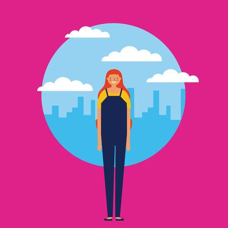 city outdoor sticker girl smile pink background vector illustration