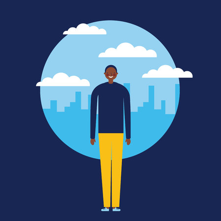 sticker city outdoor clouds afroamerican man happy vector illustration
