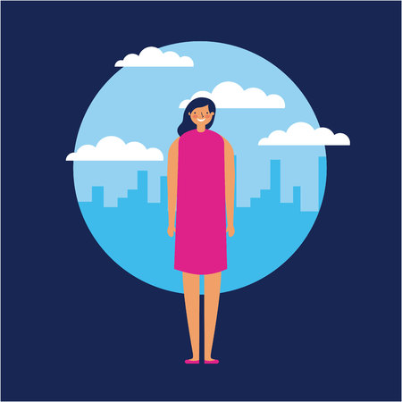 city outdoor sticker woman with dress smile vector illustration Illustration