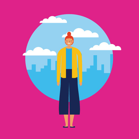 city outdoor sticker casual girl smile vector illustration