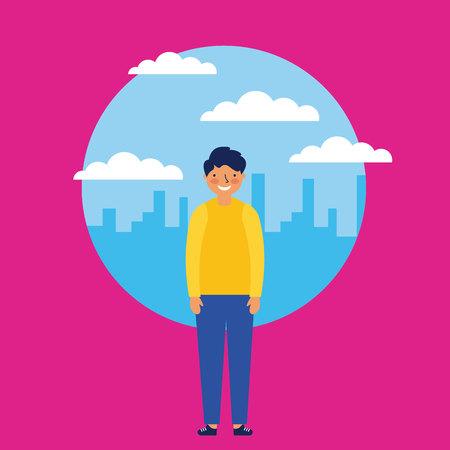 city outdoor clouds sticker boy smile vector illustration