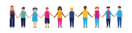 kids outdoor together holding hands love smiling vector illustration Illusztráció