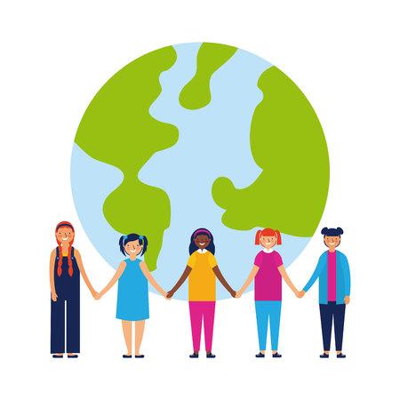 outdoor kids together world united love vector illustration Illustration
