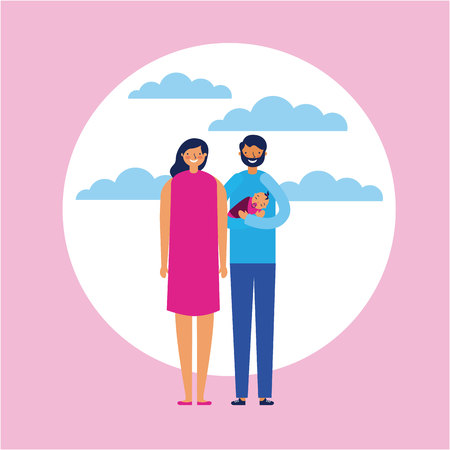 outdoor together couple with baby love vector illustration Illustration