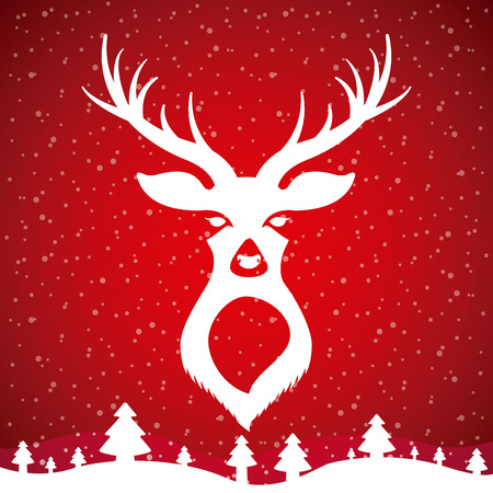 deer landscape snow tree merry christmas vector illustration