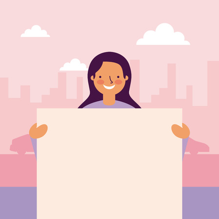 cute girl smiling holding banner city outdoor street vector illustration