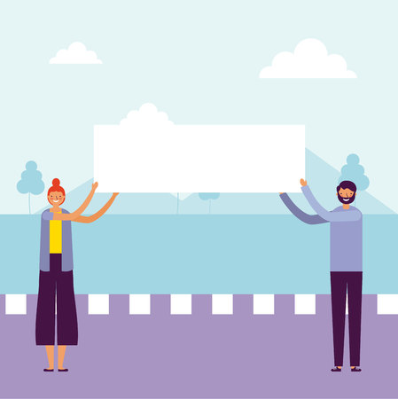 woman and man holding banner outdoor vector illustration