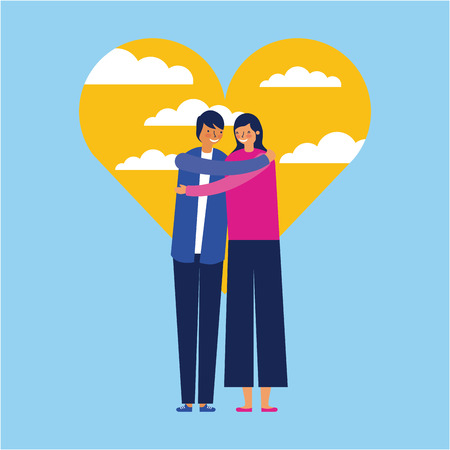 heart outdoor couple love embraced vector illustration Illusztráció