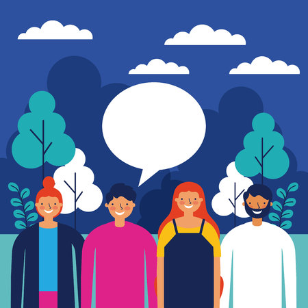 outdoor park night people talking vector illustration