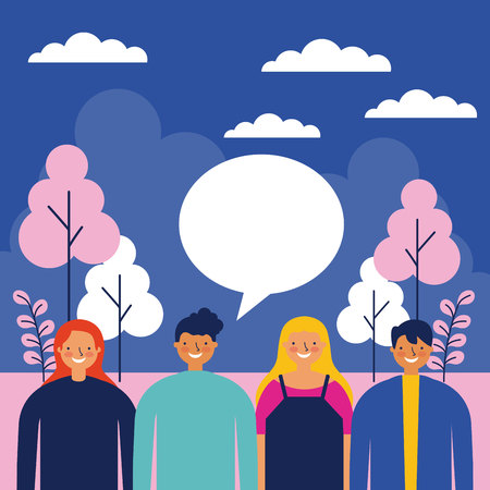 outdoor park night people talking happy vector illustration