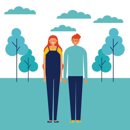 couple outdoor park happy together holding hands vector illustration Vettoriali