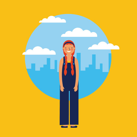 happy girl smiling city outdoor vector illustration