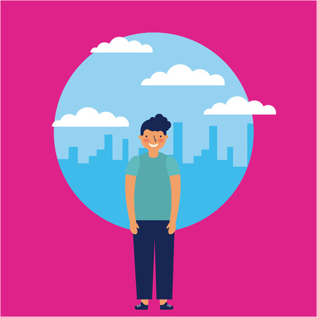 city outdoor small boy smiling vector illustration