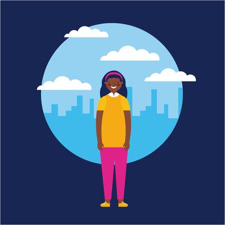 sticker city outdoor afroamerican girl happy vector illustration