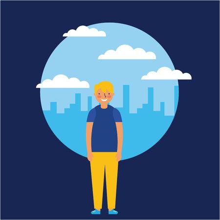 city outdoor sticker clouds boy happy vector illustration