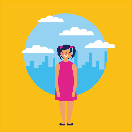 city outdoor cute girl with dress smiling vector illustration