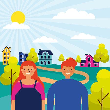 outdoor park houses happy couple vector illustration Standard-Bild - 127275726