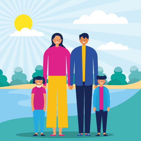outdoor park happy family lake vector illustration