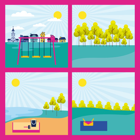 outdoor park banners sand games picnic vector illustration