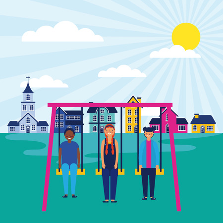 outdoor park church houses kids playing swings vector illustration