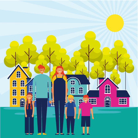 outdoor park houses sunny day happy family vector illustration Illustration