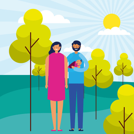 outdoor park happy couple with baby vector illustration