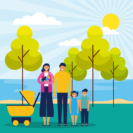 outdoor park cute happy family sunny day vector illustration