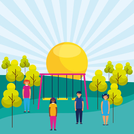 outdoor park kids playing sunny day vector illustration Illustration