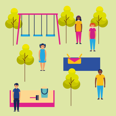 outdoor park kids enjoy playing smiling vector illustration
