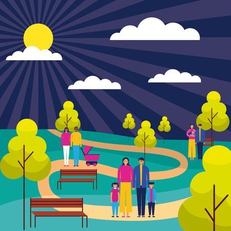 outdoor park familys couples enjoy vector illustration