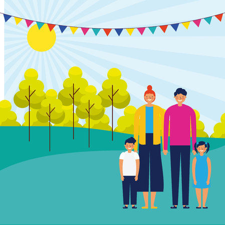outdoor park pennants happy family kids vector illustration