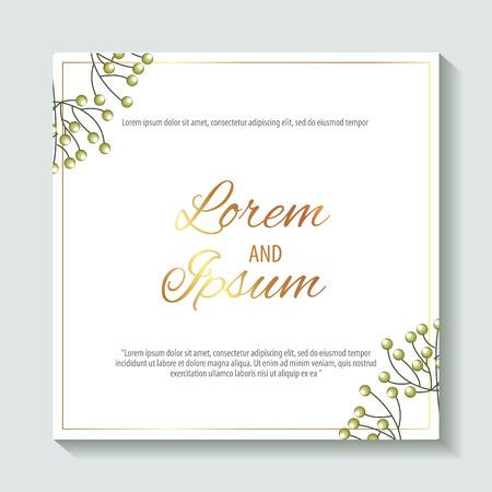 save the date lorem and ipsum leaves decoration vector illustration