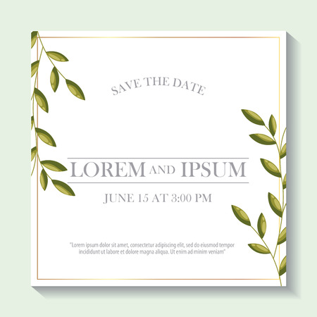 save the date frame time day leaves decoration vector illustration 스톡 콘텐츠 - 112790357