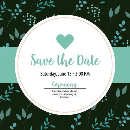 save the date circle sticker card heart sign vector illustration Vectores