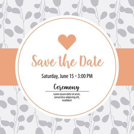 save the date ceremony card heart decoration vector illustration 스톡 콘텐츠 - 112790359