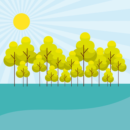 sunny day trees outdoor park vector illustration