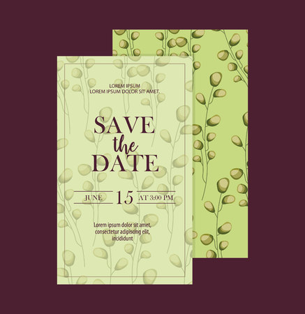 save the date ceremony invitation leaves decoration vector illustration 스톡 콘텐츠 - 112790358
