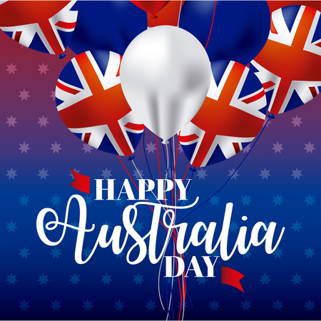 australia day flags balloons decoration happy cleebration vector illustration