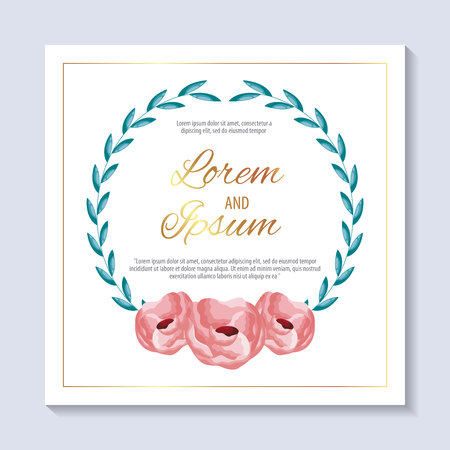save the date ceremony lorem and ipsum card flowers vector illustration Фото со стока - 112790364