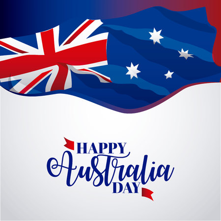 happy australia day wave flag decoration vector illustration Illusztráció