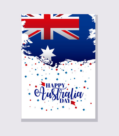 happy australia day card confetti flag celebrate vector illustration