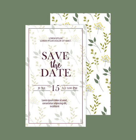 save the date cards leaves decoration vector illustration