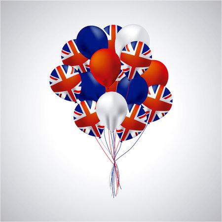 australia day balloons red blue celebration background vector illustration